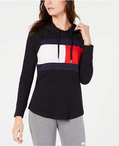 Tommy Hilfiger Sport Logo Hooded Sweatshirt, Created for Macy's - Black XXL Dresses With Leggings, Leggings Are Not Pants, Sweatshirts Online, Hooded Sweatshirts, Colorful Hoodies, Daytime Dresses, Plus Size Activewear, Jeans Dress, Trendy Plus Size