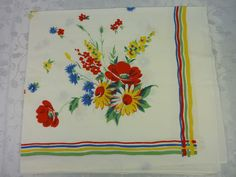 VINTAGE Red Blue Green Yellow & White TABLECLOTH Floral WILENDUR