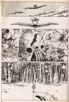 """Page from the manga """"Nausicaä from the Valley of the Wind"""" (1982-1994) by Hayao Miyazaki"""