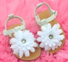 White floral kids toddler baby girl shoes sandals 9 18 Months