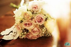 Shabby Chic wedding bouquet of pastel roses for an intimate winter wedding in Ojai California