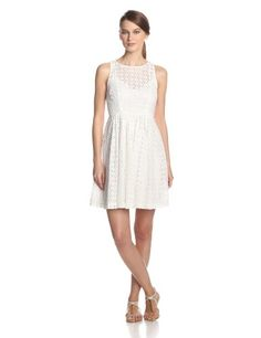 Black Friday Plenty by Tracy Reese Women's Stella Eyelet Fit and Flare Dress, White, 8 from Plenty by Tracy Reese Cyber Monday