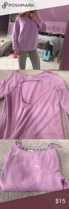 VS pink crewneck Light purple VS pink crewneck. Very comfortable and cute crewneck that comes with an open back. Has the dog logo on the front. Cute for a casual day. Comes in a size extra small but can fit a small as well. PINK Victoria's Secret Sweaters Crew & Scoop Necks