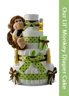 Diaper Cakes For Boys | Find the Largest Varieties Of Unique Diaper Cakes for Baby Showers Monkey Diaper Cakes, Unique Diaper Cakes, Nappy Cakes, Diaper Cake Boy, Diaper Cakes For Boys, Cake Baby, Baby Shower Diapers, Baby Boy Shower, Baby Shower Gifts