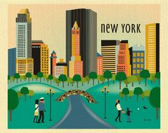 New York City wall art is available in an array of finishes, materials, and sizes, this retro inspired wall art will make Central Park feel close to your heart with its bright color palette and unique