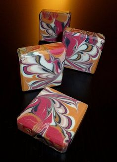 Blood Orange - cold-process soap, hanger swirl