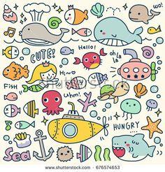 of Cute Under the Sea Doodle Doodle Art, Doodle Drawings, Easy Drawings, Under The Sea Drawings, Meer Illustration, Doodles Kawaii, Tier Doodles, Doodles Bonitos, Animal Doodles