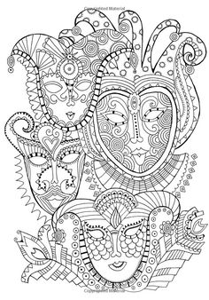 Free coloring page coloring-mask-carnival. Coloring page with carnival masks