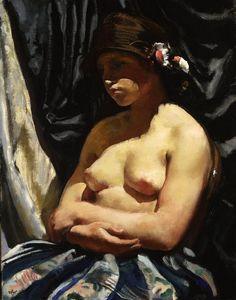"""Semi-Nude Woman"" (1923) by Wojciech Weiss (Polish,1875 - 1950) National Museum, Warsaw."
