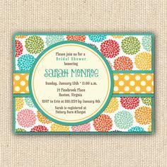 Bright Dahlia Bridal Shower Invitations - DIY Printable