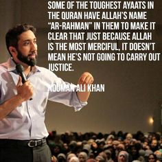 NAK~The light and gift from Allah swt💓😊 Nouman Ali Khan Quotes, Imam Ali Quotes, Allah Quotes, Muslim Quotes, Religious Quotes, Hindi Quotes, Quran Quotes Inspirational, Faith Quotes, True Quotes
