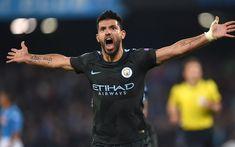 Download wallpapers 4k, Sergio Aguero, goal, football stars, Man City, soccer, joy, Manchester City, Premier League
