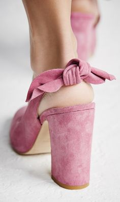 Pink suede bow chunky heels
