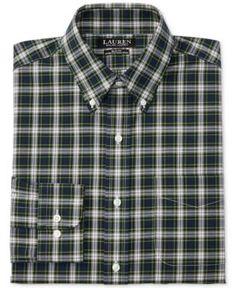 50b9a88c2df Lauren Ralph Lauren Men s Slim-Fit Non-Iron Green Tartan Stretch Dress Shirt    Reviews - Dress Shirts - Men - Macy s