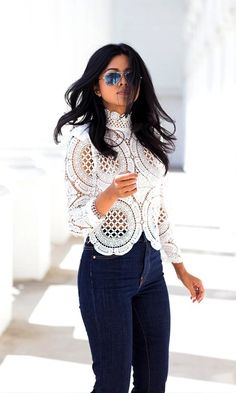White lace top + dark navy jeans + mirrored sunnies//