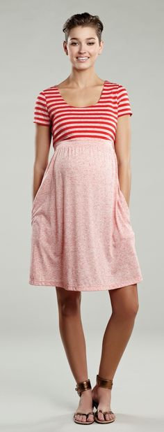$118.00 Maternal America Red with Heather Red Stripes Adorable Spring Dress w/pockets available now at Baby Bump Maternity in New Orleans