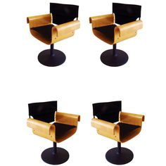 Canadian 1960's Modern Set of Four Bentwood Directors' Style Swivel Chairs.   From a unique collection of antique and modern chairs at http://www.1stdibs.com/seating/chairs/