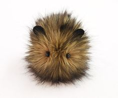 Beaver the Brown with Black tips Faux Fur Guinea Pig Plush Toy Stuffed Animal - 4x5 Inches Small Size