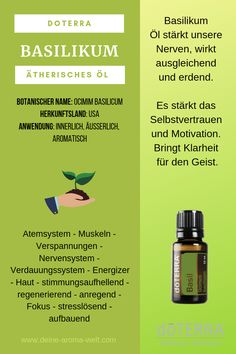 Basilikum ätherisches Öl - doTERRA Basil oil is known for a wide range of biological and physiologic Medical Medium Anthony William, Basil Essential Oil, Basil Oil, Doterra Essential Oils, Crochet Hair Styles, Skin Problems, Garden Styles, Good To Know, Essentials
