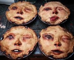 """Fabulously Disconcerting Anthropomorphic Human Faces Baked Into Top Crusts of Handmade Pot Pies Horror artist Ashley Newman of """"It Came From Under My Bed"""" has created a fabulously disconcerting. Theme Halloween, Creepy Halloween Decorations, Halloween Dinner, Halloween Food For Party, Halloween 2018, Holidays Halloween, Spooky Halloween, Halloween Treats, Halloween Foods"""