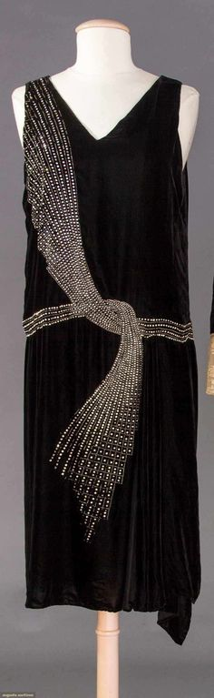 Dance Dress   Lucien Lelong   France; Paris   late 1920s   silk velvet, crystal beads, rhinestones   Augusta Auctions   October 25, 2017