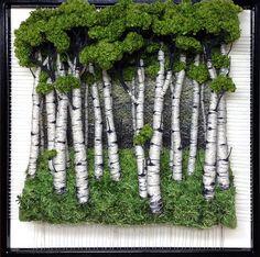 Dimensional Weaving - Martina Celerin fiber art: Portraits of Trees are on my mind Moss Wall Art, Moss Art, Weaving Art, Tapestry Weaving, Plant Wall, Plant Decor, Garden Art, Garden Design, Island Moos