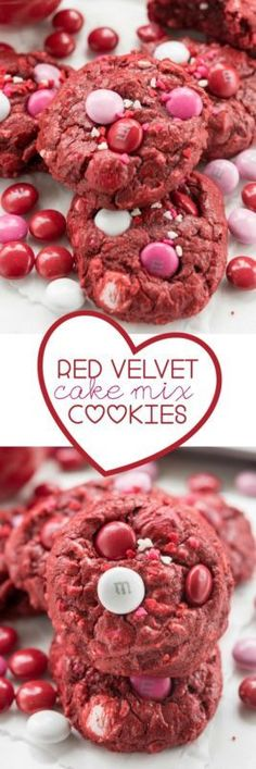 Red Velvet Cake Mix Cookies are the BEST cookies! Soft, gooey, and full of red velvet Valentine flavors.