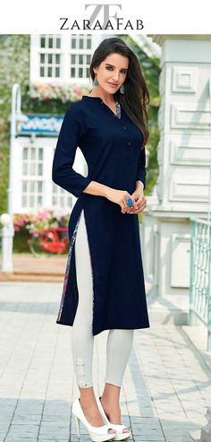 Outfits with leggings - Online sale navy blue women kurtis shopping in UK at very affordable price Buy Indian kurtis online, womens kurtis online, blue kurtis for women online and much more at affordable price navybluekur Kurta Designs Women, Salwar Designs, Indian Dresses, Indian Outfits, Kurti With Jeans, Western Dresses For Women, Kaftan, Wedges Outfit, Kurti Styles