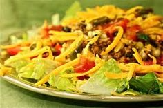 Shell-less Taco Salad is so yummy! Ask your family. :) Get the recipe TODAY!   #tacosalad #dinner #lunch #easyrecipes #yummy