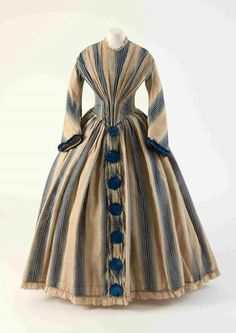 1843-1847, unknown country Wool and silk day dress Fashion Museum Bath