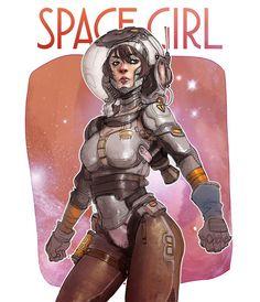 Space Girl , Hicham Habchi on ArtStation at https://www.artstation.com/artwork/kwP36