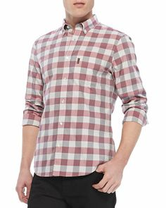 Gingham-Check Button-Down Shirt, Red by Burberry Brit at Neiman Marcus.