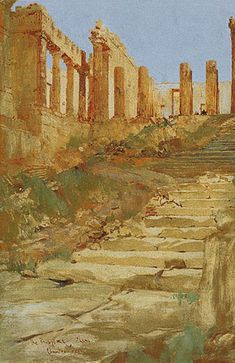 GREEK PARLIAMENT ART COLLECTION Athens Acropolis, Athens Greece, Charles Edward, International Artist, Painting & Drawing, The Past, Architecture, Illustration, Paintings