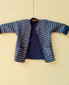 Indigo Navy Blue Hand Block Printed Quilted Jacket by MograDesigns