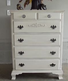 Upcycled vintage chalk painted dresser