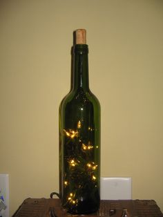 Lighted  Green Wine Bottle DIY Kit  Wedding Centerpiece Home Decor Party Personalized Monogram Gift Craft via Etsy