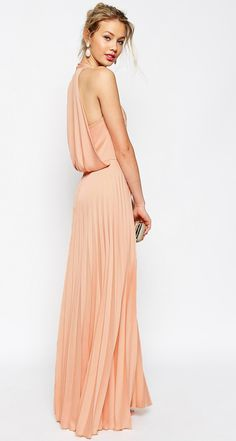 Coral pleated maxi dress