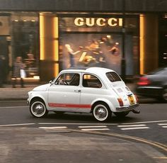 Cool Cars -                                                      Fiat 500 outside Gucci #fashionicons