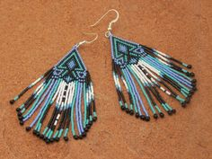 Cherokee Beaded Lavender Turquoise Arrowhead Earrings