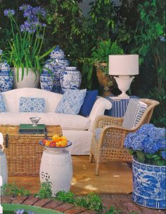 outdoor living with blue and white. also ♥ brick paver patio floor. - outdoor living with blue and white. also ♥ brick paver patio floor. via Slim Paley - Outdoor Rooms, Outdoor Sofa, Outdoor Living, Outdoor Furniture Sets, Outdoor Decor, Outdoor Seating, Wicker Furniture, Cheap Furniture, Garden Sitting Areas