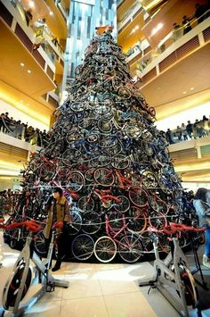 Now THAT is a Christmas Tree made out of bikes! Wow! #Christmas #BikeGuru