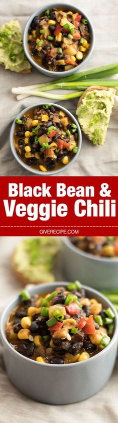 Black Bean and Veggie Chili. Healthy, hearty and very easy. Ready in 30 minutes!