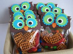 Owl Party Favors Lime Green and Turquoise Birthday Favors on Etsy, $12.50