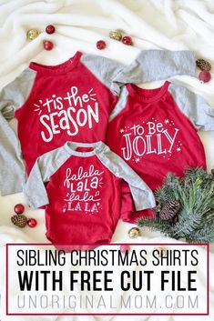 "DIY Sibling Christmas Shirts + Free SVG An adorable set of matching DIY Sibling Christmas Shirts with the lyrics ""tis the season to be jolly."" So cute for a three child family! Christmas Shirts For Kids, Christmas Vinyl, Xmas Shirts, Vinyl Shirts, Diy Christmas Gifts, Family Christmas, Christmas Humor, Merry Christmas, Funny Christmas Shirts"