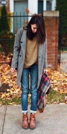 #street #style fall / knit cardigan + denim #street
