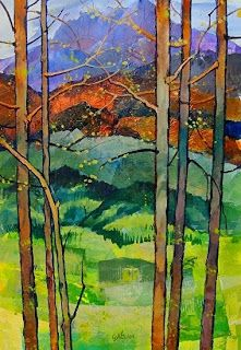 """Contemporary Artists of Colorado: Mixed Media Landscape Aspen Tree Art Painting """"Spring in the Rockies"""" by Colorado Mixed Media Abstract Artist Carol Nelson"""