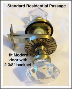 Architectural & Garden Antiques Top-of-the-Line Brushed Nickel & Fluted Crystal Glass  Privacy KNOB SET