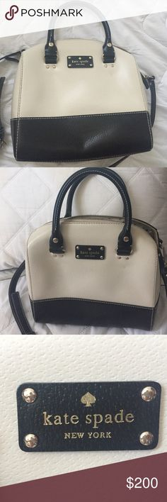 Black and White Kate Spade Bag Cool rounded shape. Handles and cross body. Never been used. kate spade Bags Crossbody Bags
