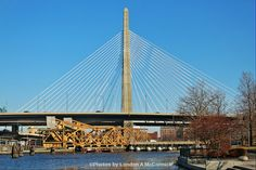 """Leonard P. Zakim Bunker Hill Memorial Bridge also known as Leonard P. Zakim Bridge was dedicated on October 4, 2002 in Boston, Massachusetts. The cable stayed bridge is the replacement bridge for the old truss bridge known as the Charlestown High Bridge which was constructed in the 1950s. The bridges name became commerative to Bostons civic leader and civil rights activist, Leonard P Zakim who believed in the """"building of bridges between the people."""""""