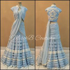 Powder Pallette, lehenga by MischB Couture Indian Wedding Gowns, Indian Gowns Dresses, Indian Attire, Indian Outfits, Indian Wear, Indian Designer Outfits, Designer Dresses, India Fashion, Look Fashion